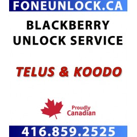 TELUS & KOODO  BlackBerry 9xxx Series Unlock Service